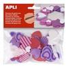 Obrázek Pěnovka APLI ve tvaru srdce / mix druhů a barev / samolepicí